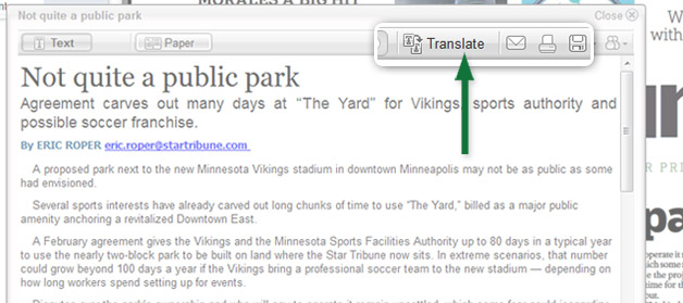 You may also print, save, share, and translate articles to Spanish from the article window.